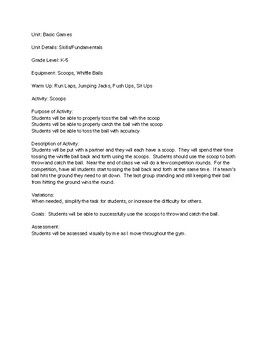 Basic PE Games - 8 Lesson Plans - Elementary PE