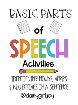 Basic Parts of Speech Activity Bundle for Elementary Reading & Dyslexia Support