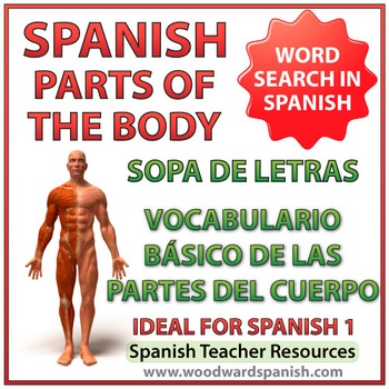 Basic Parts of the Body in Spanish Word Search