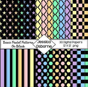 Pastel on Black Digital Paper