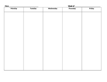 Basic Per Subject Weekly Lesson Planner