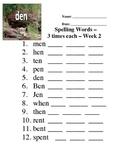 Basic Phonics Spelling Program Worksheet - Week 2 - short e