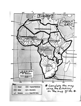 Key Physical Features Of Africa Map.Basic Physical Features Of Sub Saharan Africa Map Directions Answer Key