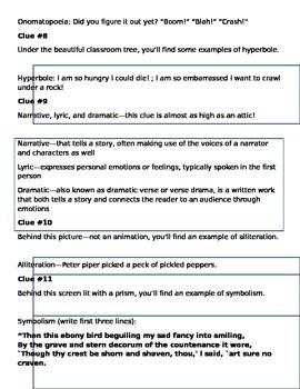 Basic Poetry Terminology Scavenger Hunt