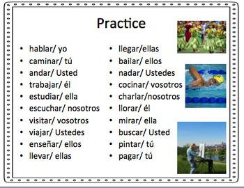 Simple Regular Preterite -ar Verb Conjugations