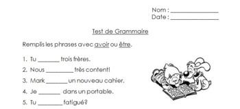 Basic Primary French Grammar Test