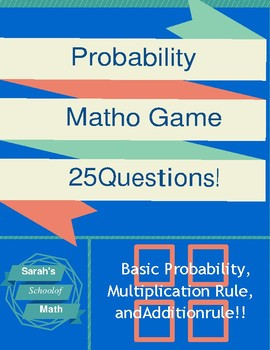 Basic Probability Matho Game-Includes the addition rule!