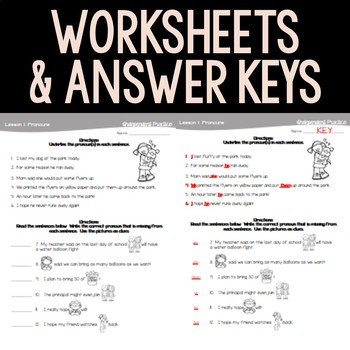 Basic Pronouns Interactive Notebook and Activities