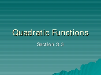 Basic properties of Quadratic function graphs