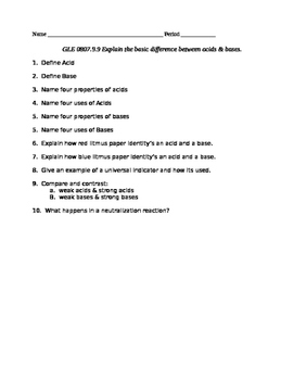 Basic Properties of Acids and Bases Starter