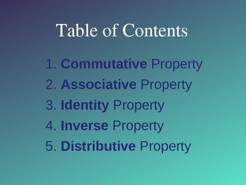 Basic Properties of Algebra PowerPoint & Quizzes