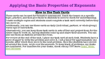 Basic Properties of Exponents Task Cards