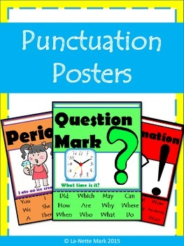 Basic Punctuation Posters - Period, Question, & Exclamation Marks