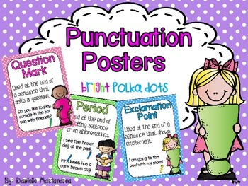 Basic Punctuation Posters {Bright Polks Dots}