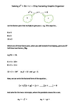 Basic Quadratic Factoring Graphic Organizer