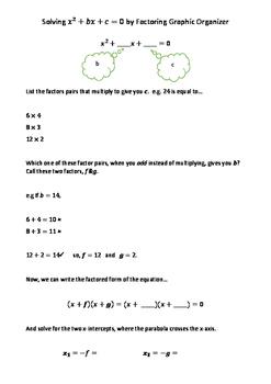 Basic Quadratic Factoring Graphic Organizer
