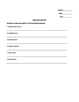 Basic Questions Quiz, Spanish