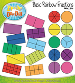 Basic Rainbow Fractions Clipart — Comes In Color and Black & White!