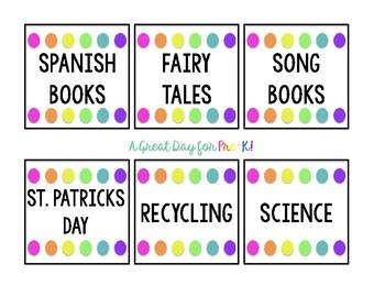 Basic Rainbow Library Bin Labels - Preschool, Prek, Kindergarten, Elementary