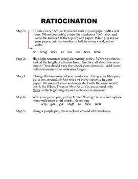 Color Coding:  Basic Ratiocination for Revising Essays