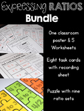 Expressing Ratios Bundle Poster, Worksheets, Task Cards &