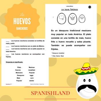 "Basic Reading Comprehension In Spanish ""Los Huevos Rancheros"""
