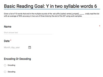 Basic Reading Goals with work samples