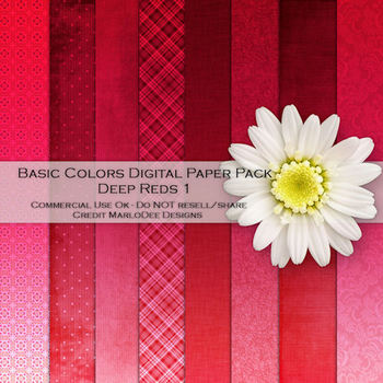 Basic Reds Variety Digital Papers Package