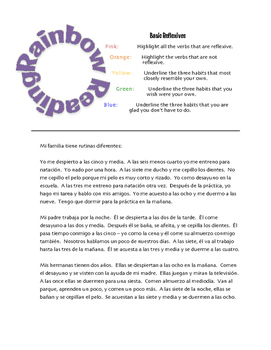 Spanish Reflexive Verb Rainbow Reading