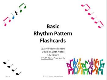"Basic Rhythm Pattern Flashcards: 1 Measure, 2""x8"" Strips, Set A"