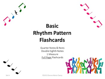 Basic Rhythm Pattern Flashcards: 1 Measure, Full Page, Set A