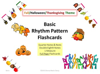 Basic Rhythm Pattern Flashcards: Fall, Halloween, Thanksgi