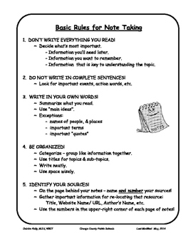 Basic Rules for Note Taking