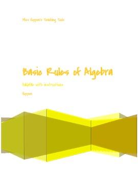 Basic Rules of Algebra foldable