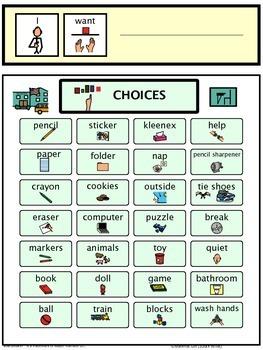 Basic School Choices Picture Menu Autism