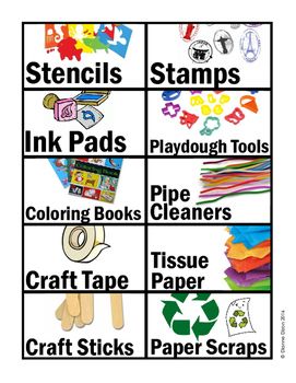 Basic School Supplies Labels - 2 pages