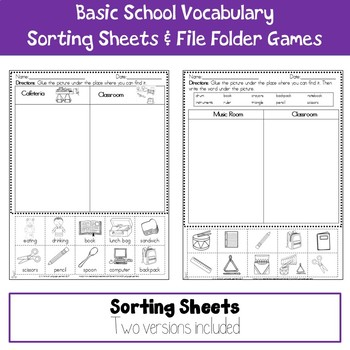 Basic School Vocabulary Sorting Sheets and File Folder Game