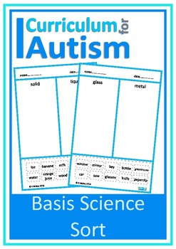 Basic Science Concepts Sort Autism Special Education