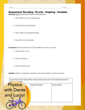 Basic Science Principles Bundle: Rounding, Unit Conversion, Graphing, Variables