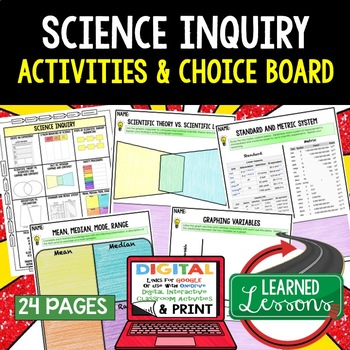 Basic Science and Inquiry Choice Board & Activities Paper