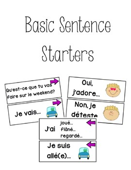 French Basic Sentence Starters