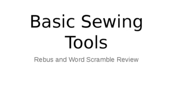 Basic Sewing Tools Rebus and Word Scramble Review