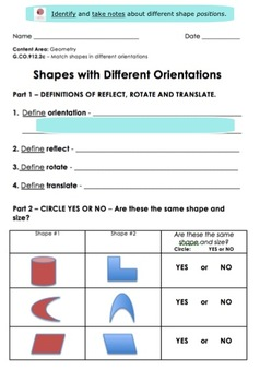 Shape Translation | Slide, Flip and Turn