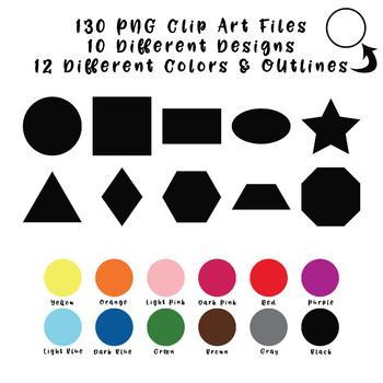 Basic Shapes Clip Art (2D) - 130 png files - 10 designs in 12 colors & Outlines