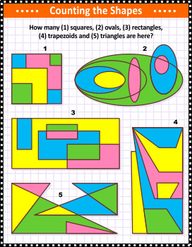 Basic Shapes Counting Visual Puzzle, Commercial Use Allowed