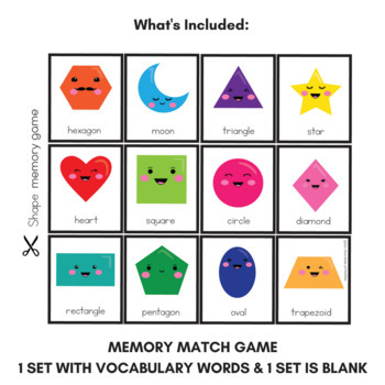 Basic Shapes Flashcards, Memory Match and Clip Cards - 3 Game Set