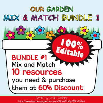 Basic Shapes Poster & Flashcards in Flower & Bugs Theme - 100% Editble
