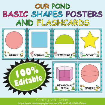 Basic Shapes Poster & Flashcards in Our Pond Theme - 100% Editble