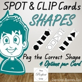 Shapes 'Spot and Clip' Peg Cards, QLD Font