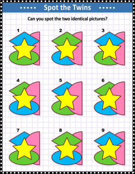 Basic Shapes Spot the Identicals Visual Puzzle 1, Commercial Use Allowed